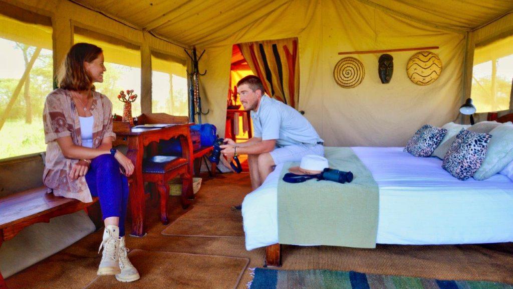 Relaxing in the tent in between meals